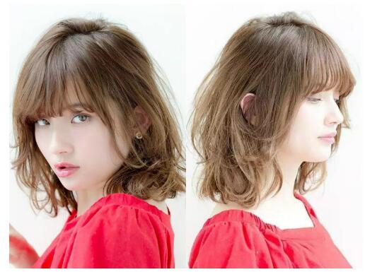 日系女生中长烫发发型图片2017