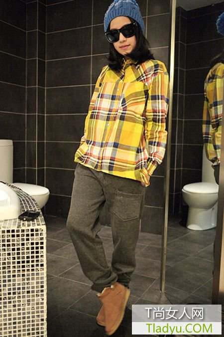 毛衣+衬衫+小脚裤 矮妞立变高