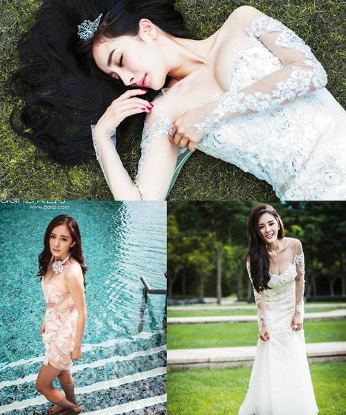 杨幂登上新娘杂志拍摄一组婚纱礼服大片