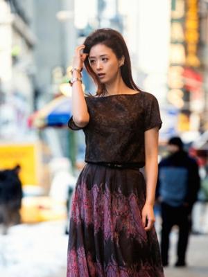 纽约时装周街拍中国明星蒋欣搭配多种造型