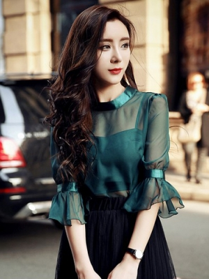 用黑色欧根纱做连衣裙旧时尚新感觉