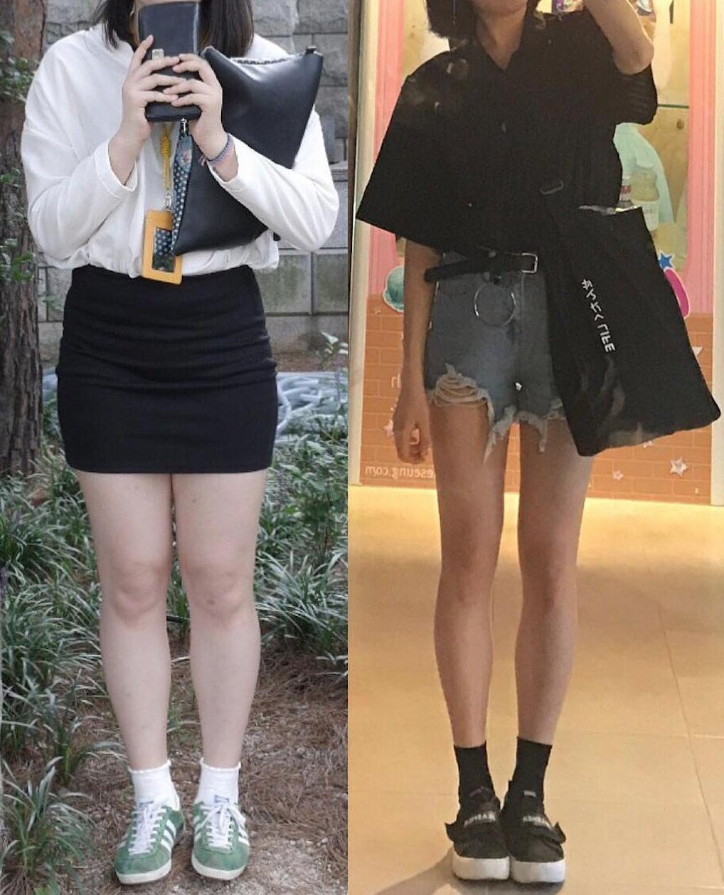 瘦20公斤前后照片对比